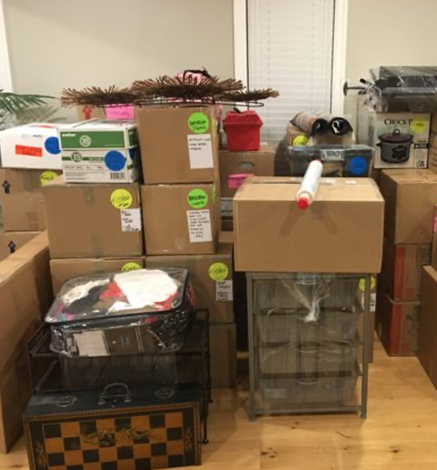 Packed and stacked boxes ready for the move.