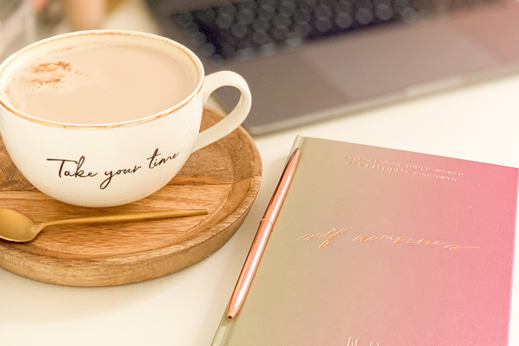 Create a sanctuary fit for working form home with a coffee and notebook.