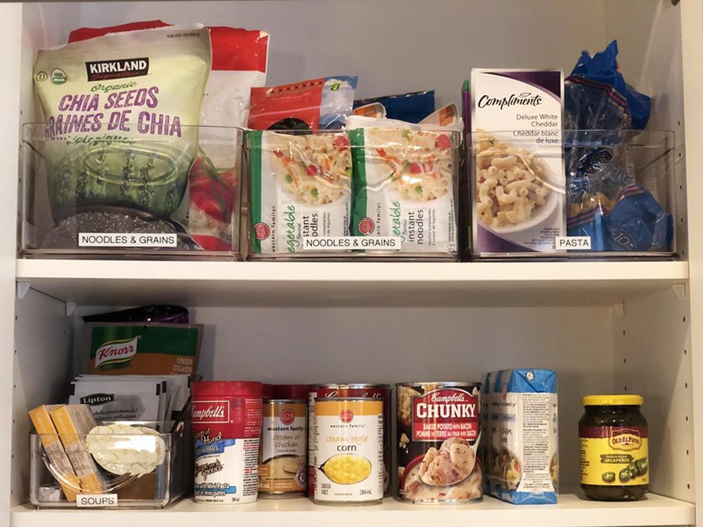 Organized kitchen cupboard.